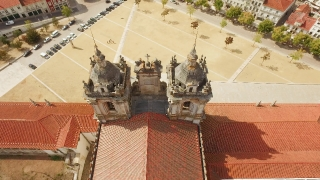 Alcobaca Monastery Aerial Roof Mediaeval Roman Catholic Architecture Tower Portugal Drone Footage Porto Famous City History Travel Gothic Europe