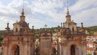 Historic Tower Alcobaca Monastery Mediaeval Roman Catholic Architecture Portugal Gothic Europe Drone Footage Porto Famous City Travel Bell