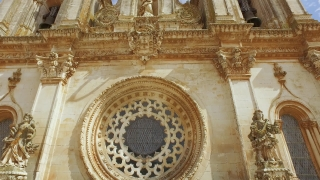 Ornate Rose Window Alcobaca Monastery Mediaeval Roman Catholic Sculpture Architecture Tower Portugal Drone Footage Porto Famous History Europe Travel Gothic