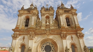 Drone Footage Alcobaca Monastery Sculpture Bell Tower Ornate Mediaeval Roman Catholic Architecture Portugal Porto Famous History Europe Travel Attraction Gothic