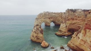 Drone Footage Praia Da Marinha Natural Arch Idyllic Cliff Atlantic Beach Europe Emblematic Famous Portugal Rock Sea Travel Geology Nature
