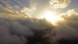 Idyllic Clouds Sun Covering Drone Footage Beautiful Weather Sky Golden Fluffy Cloudscape Nature Sunlight Sunset