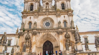 Alcobaca Monastery Drone Footage Fa��_��__ade Bell Tower Mediaeval Roman Catholic Architecture Famous History Portugal Europe Travel Porto Attraction Gothic Building