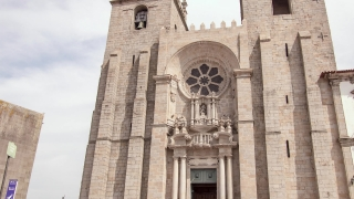 Porto Cathedral Entrance Travel Architecture Drone Footage Portugal Lisbon Famous Historic Europe Facade Old Religion Tourism Attraction