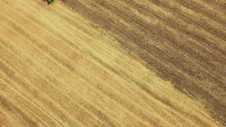 Aerial Footage Tractor Ploughing Field Agriculture Cultivation Dirt Equipment Farming Landscape Lines Machinery Preparing Drone Rural 4K