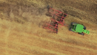 Drone Footage Tractor Ploughing Field Aerial Agriculture Equipment Cultivation Farming Dirt Landscape Machinery Rural Lines