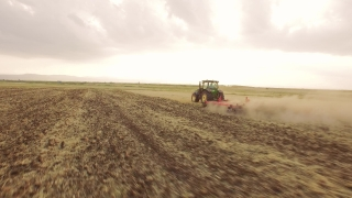 Aerial Footage Agriculture Tractor Ploughing Field Cultivation Dirt Equipment Farming Landscape Machinery Preparing Drone Rural