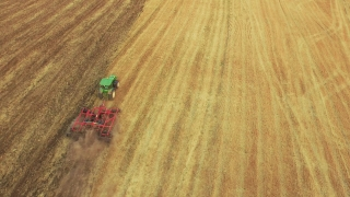 Footage Tractor Ploughing Field Aerial Agriculture Cultivation Dirt Equipment Farming Landscape Machinery Preparing Drone Rural