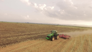 Drone Footage Tractor Ploughing Field Nature Scenic Agriculture Cultivation Dirt Equipment Farming Landscape Machinery Aerial Horizon Rural 4K