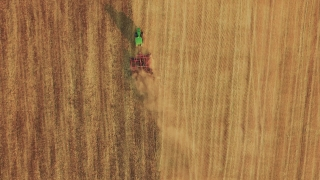Farming Aerial Footage Tractor Ploughing Field Agriculture Cultivation Dirt Equipment Landscape Machinery Rural Drone