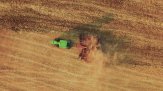Tractor Ploughing Field Aerial Footage Agriculture Dirt Equipment Cultivation Farming Field Landscape Lines Machinery Drone Rural 4K