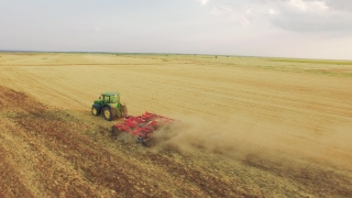 Aerial Tractor Ploughing Field Footage Agriculture Dirt Equipment Cultivation Farming Landscape Lines Machinery Drone Rural