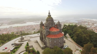 Aerial View Santa Luzia Church Drone Portugal Travel Architecture Landscape Sanctuary Viana Do Castelo Famous History Southern Europe Dome Old