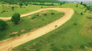 Dirt Bikes Riding Off-Road Extreme Sports Jump Danger Aerial Shot