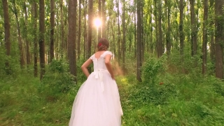 Slow Motion Bride Fairy Tale Princess Vintage White Dress Running Through Forest Sunset Magic Hour Trees