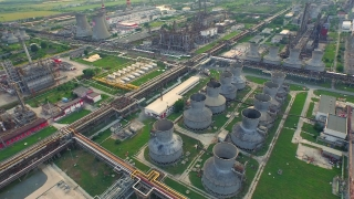 Aerial Of Oil Factory Petrol Commerce Environment Pollution Chemicals Ecology Threat Global Disaster Energy Gas Production Concept