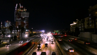 Highway Traffic Night Urban High Angle Footage Illuminated City Los Angeles California USA Busy Road Timelapse Transportation Connection Sky Cars