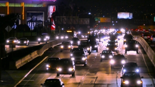 Highway Traffic Night Urban Illuminated High Angle Footage City Los Angeles USA Busy California Road Transportation Timelapse Connection Cars
