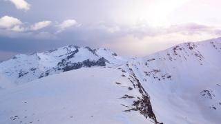 Man Walking Up Mountain Slope Reaching The Top Peak Success Concept
