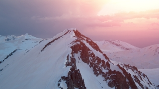 Sunset Over Mountain Range Aerial Helicopter Drone Flight  Beautiful Winter Landscape Inspiration Beautiful Panorama
