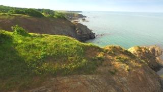 Aerial Fly Over Sea Cliffs Coastline Ocean Rocks Landscape Beauty Vacation Holiday Concept