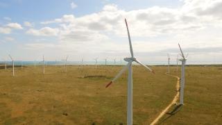 Aerial Turbine Wind Power Energy Windmill Electricity Generator Environmental Generate Alternative Technology Environment Sky Farm Efficiency Nature Generation Electric Aerial UHD 4K