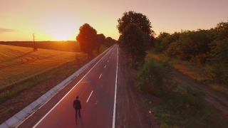 Business Sunset Road Man Way Businessman Work Sky Success Job Street Travel Future Walk Countryside Nature Sunrise Concept Cloudy Male Worker Positive Direction Field Aerial UHD 4K