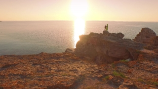 Man Vacation Ocean Cliffs Rocks Sunset Surf Summer Holiday Sea Beauty Sunset Relaxation Sport Aerial Footage