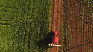 Aerial Shot Of Tractor Corn Field Road Agriculture Machinery Farming Equipment Food Production Concept