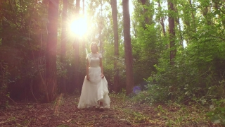 Beautiful Princess Bride Walking Down Forest Path At Sunset Smiling Joy Happiness Fantasy Wedding Concept