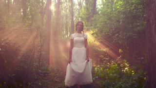 Beautiful Bride Vintage Princess Dress Walking In Enchanted Forest Nature Freedom Beauty Magic Romantic Concept