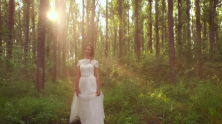 Gorgeous Young Princess Model Bride Vintage White Dress Walking Through Forest Smiling Happy Marriage Sunset Beauty Sun Rays Mist Magic Concept