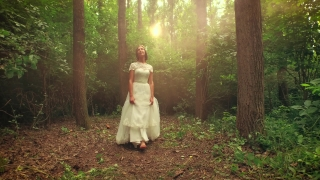 Beautiful Young Bride Walking Through Forest Tracking Shot Sunset Rays Flare Beauty Nature Freedom Happiness Inner Piece