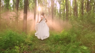 Beautifl Young Bride White Dress Running Through Forest Sun Shining Through Trees Sunset Fairy Tale Princess Beauty Vintage Concept Slow Motion