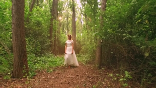 Beautiful Young Princess Bride Walking Through Forest Slow Motion White Dress Vintage Happy Wedding Happiness Romance