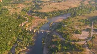 Endangered Species Vultures Scavengers Flying In Natural Habitat Cruising River Forest Mountain Landscape Aerial Tracking Shot
