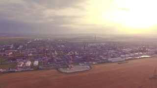 Oil Refinery Aerial Fly Over Factory Economy Production Industry Global Environment Pollution Sunset Petrol Concept