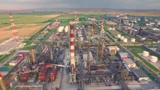 Oil Industry Refinery  Factory Aerial Fly Over Petrol  Steel Pipelines Commerce Economy Concept