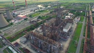 Aerial Fly Over Metal Tubes Of Oil Refinery Factory Petrol Production Environment Pollution Concept
