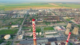 Environment Pollution Concept Oil Industry Refinery Factory Aerial Shot Ecology Industry Green Living Fuel Production Process