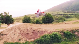 Motocross Dirt Bike Jumping Slow Motion Off-Road Extreme Sports Concept