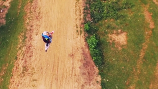 Motorcyclist Off-Road Dirt Bike Jumping Slow Motion Aerial Extreme Sports Concept