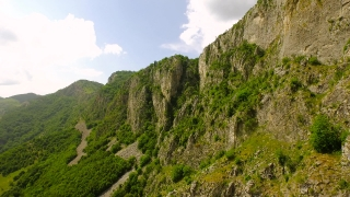 Beautiful Aerial Shot Epic Vertical Cliffs Mountain Ridge Adventure Hiking Trail Mounteneering Summit Rocks Adventure Seeking