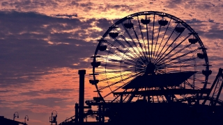 Silhouette Ferris Wheel Santa Monica Pier Footage Sunset Dramatic Sky Clouds Nature California Los Angeles Weather Orange Tourism Travel Destination