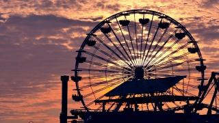 Footage Silhouette Ferris Wheel Santa Monica Pier Sunset Dramatic Sky Nature California Clouds Los Angeles Travel Destination Weather Orange Tourism