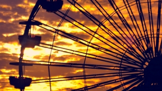 Silhouette Ferris Wheel Footage Santa Monica Pier Sunset Nature California Dramatic Sky Los Angeles Travel Destination Clouds Weather Tourism Orange
