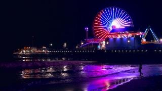 Illuminated Santa Monica Pier Night Purple Ferris Wheel Water Beach Nature California Sea Timelapse Los Angeles Tourism Travel Destination Sky