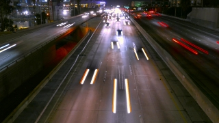 High Angle Footage Highway Traffic Night Long Exposure Urban Illuminated City Los Angeles USA Busy California Road Transportation Cars Connection