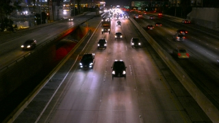 Urban Highway Traffic Night City Los Angeles High Angle Footage Illuminated California USA Timelapse Busy Road Cars Transportation Connection