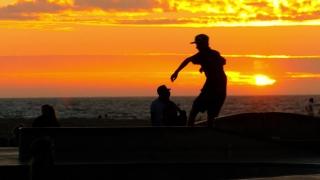 Extreme Skatepark Sunset Tourists Skateboarding Vitality Enjoyment Orange Youth Culture Sport Los Angeles Vacation Skill Sky Footage Recreation